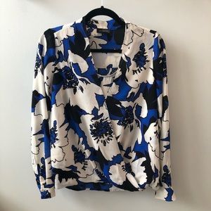 The Limited blue/black/white floral blouse